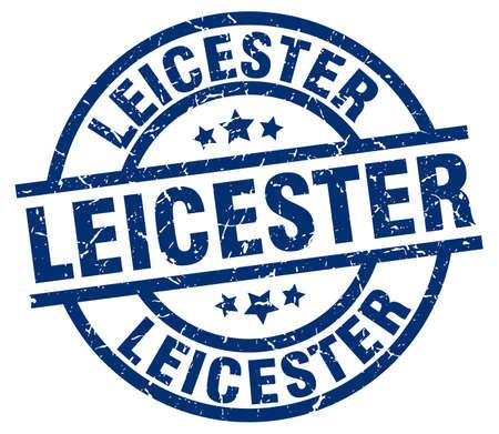 Leicester blue round grunge stamp Illustration