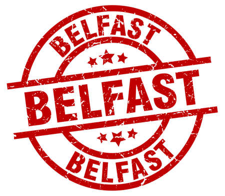 belfast: Belfast red round grunge stamp Illustration