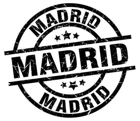 madrid: Madrid black round grunge stamp