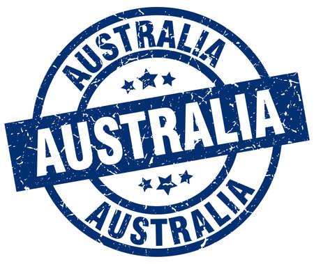 Australia blue round grunge stamp