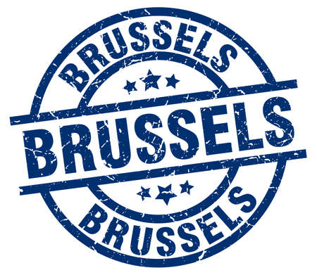 Brussels blue round grunge stamp Illustration