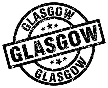 Glasgow black round grunge stamp Illustration
