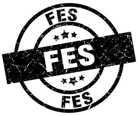 fes: Fes black round grunge stamp Illustration