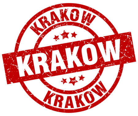 Krakow red round grunge stamp