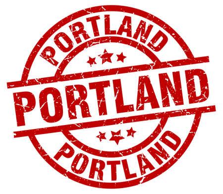 Portland red round grunge stamp