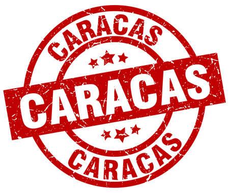 caracas: Caracas red round grunge stamp Illustration