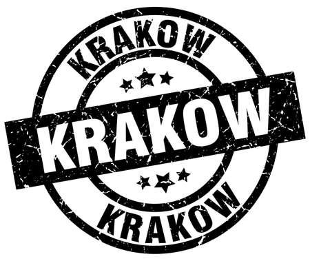 Krakow black round grunge stamp Иллюстрация