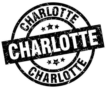 charlotte: Charlotte black round grunge stamp Illustration