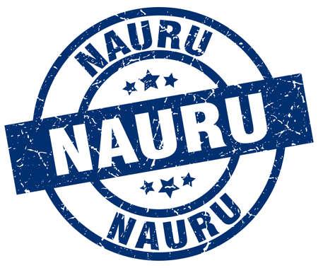 Nauru blue round grunge stamp