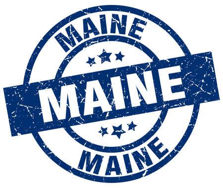 Maine blue round grunge stamp