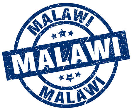 Malawi blue round grunge stamp Illustration