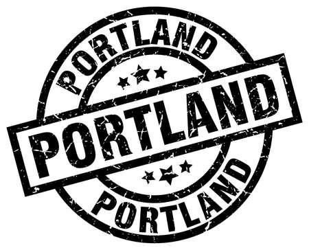 Portland black round grunge stamp Illustration