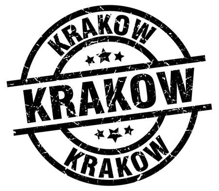 Krakow black round grunge stamp Illustration
