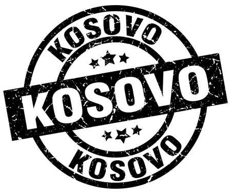 Kosovo black round grunge stamp