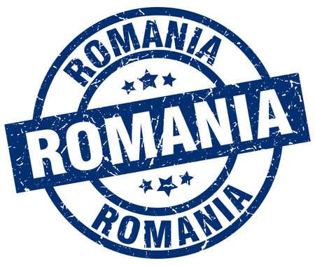 Romania blue round grunge stamp