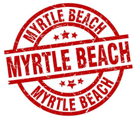 Myrtle Beach red round grunge stamp
