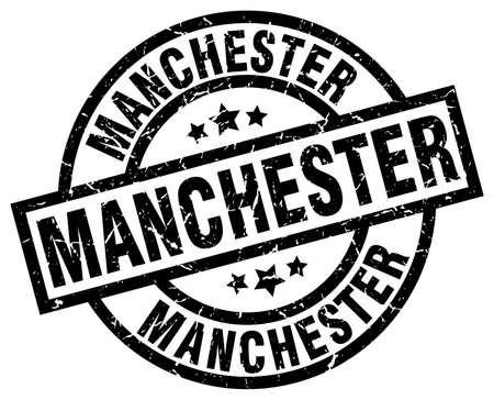 Manchester black round grunge stamp
