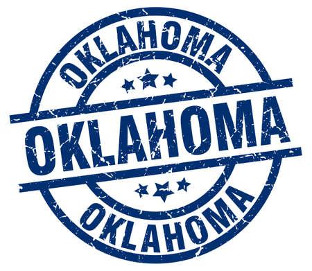 oklahoma: Oklahoma blue round grunge stamp