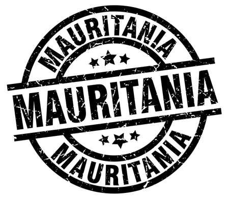Mauritania black round grunge stamp Illustration