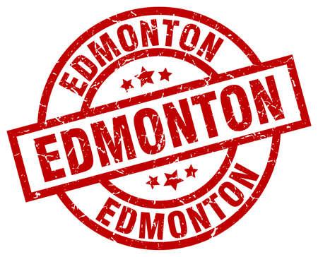 Edmonton red round grunge stamp