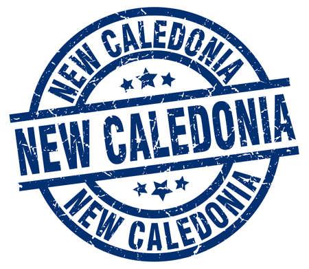 New Caledonia blue round grunge stamp