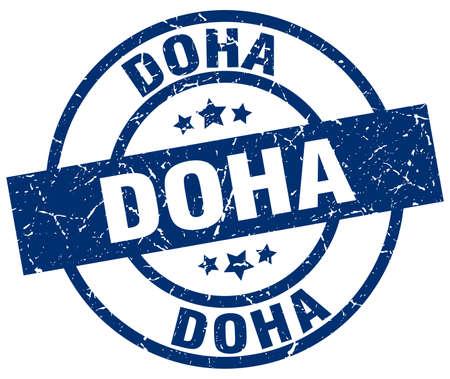 Doha blue round grunge stamp