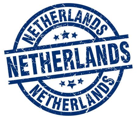 Netherlands blue round grunge stamp Illustration