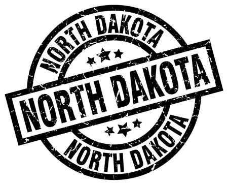 North Dakota black round grunge stamp