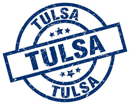 Tulsa blue round grunge stamp Illustration