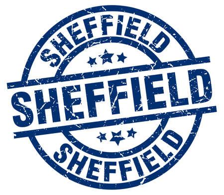 Sheffield blue round grunge stamp.