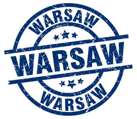 Warsaw blue round grunge stamp 向量圖像
