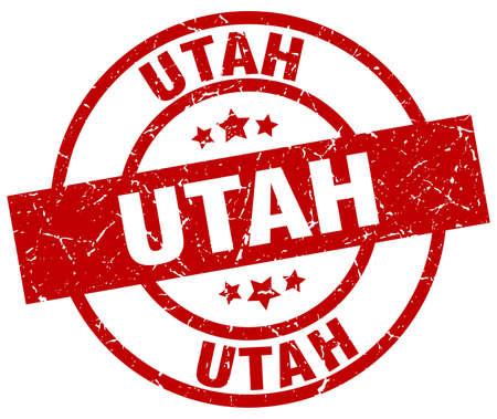 Utah red round grunge stamp. Illustration