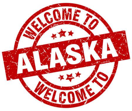 welcome to Alaska red stamp Illustration