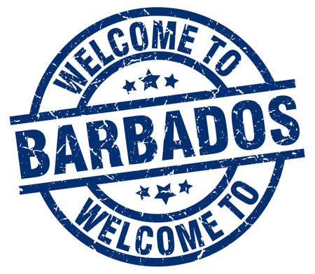 welcome to Barbados blue stamp Illustration