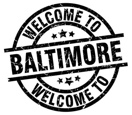 welcome to Baltimore black stamp Illustration