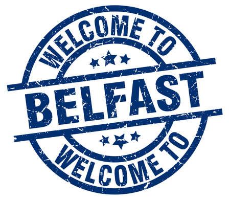 welcome to Belfast blue stamp Illustration