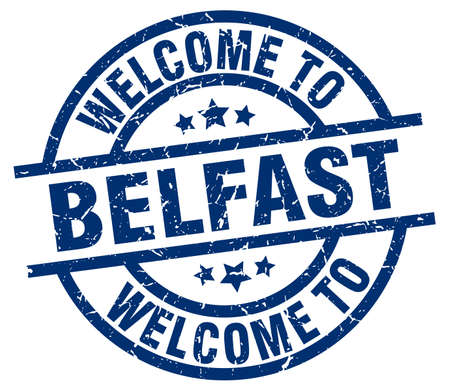 belfast: welcome to Belfast blue stamp Illustration
