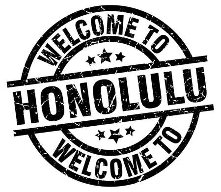 welcome to Honolulu black stamp Illustration