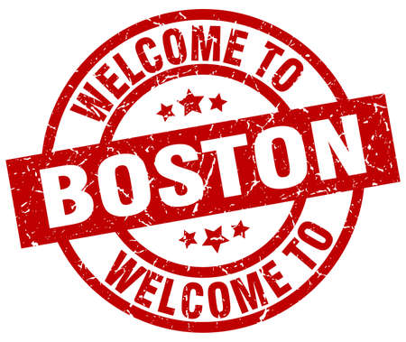 welcome to Boston red stamp Illustration