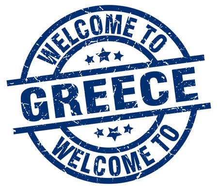 welcome to Greece blue stamp