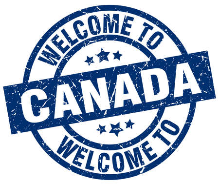 canada stamp: welcome to Canada blue stamp Illustration