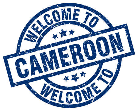 welcome to Cameroon blue stamp Illustration