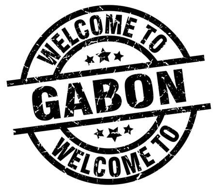 welcome to Gabon black stamp