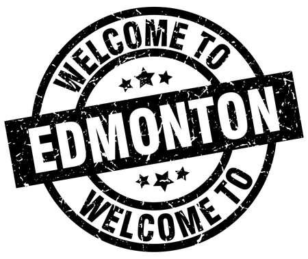 welcome to Edmonton black stamp Illustration