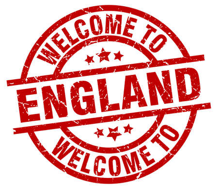 welcome to England red stamp Illustration