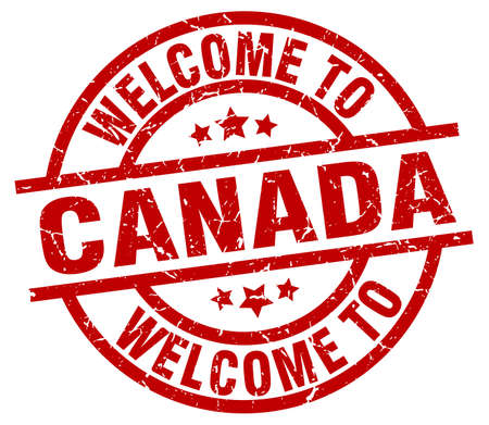 welcome to Canada red stamp Иллюстрация