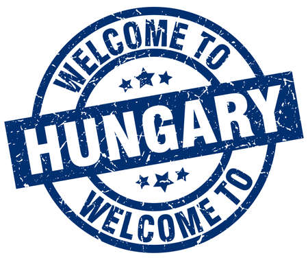 welcome to Hungary blue stamp