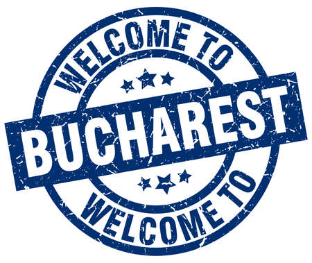 welcome to Bucharest blue stamp Illustration
