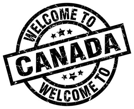 canada stamp: welcome to Canada black stamp Illustration