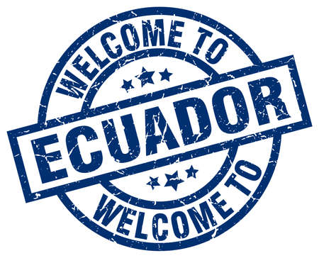 welcome to Ecuador blue stamp